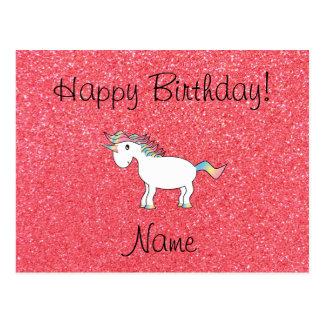Brillo rosa claro del unicornio conocido del cumpl tarjetas postales