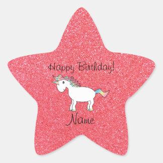 Brillo rosa claro del unicornio conocido del colcomanias forma de estrellaes personalizadas