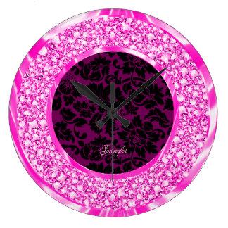 Brillo rosado chispeante de los diamantes de los d relojes