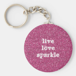 Brillo rosado con cita viva de la chispa del amor llavero redondo tipo pin