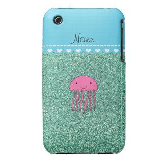Brillo rosado conocido del verde del seafoam de Case-Mate iPhone 3 fundas