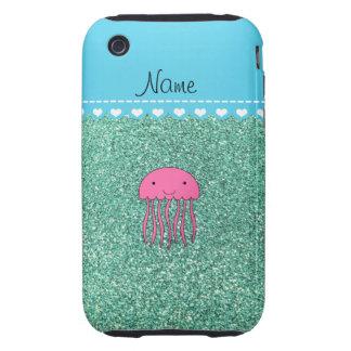 Brillo rosado conocido del verde del seafoam de iPhone 3 tough coberturas