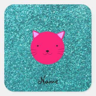 Brillo rosado conocido personalizado de la pegatina cuadradas personalizadas