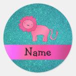 Brillo rosado conocido personalizado de la pegatinas redondas