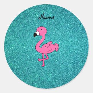Brillo rosado conocido personalizado de la pegatina redonda