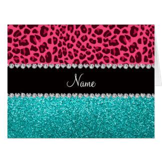 Brillo rosado conocido personalizado de la tarjeta de felicitación grande