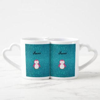 Brillo rosado conocido personalizado de la taza para parejas