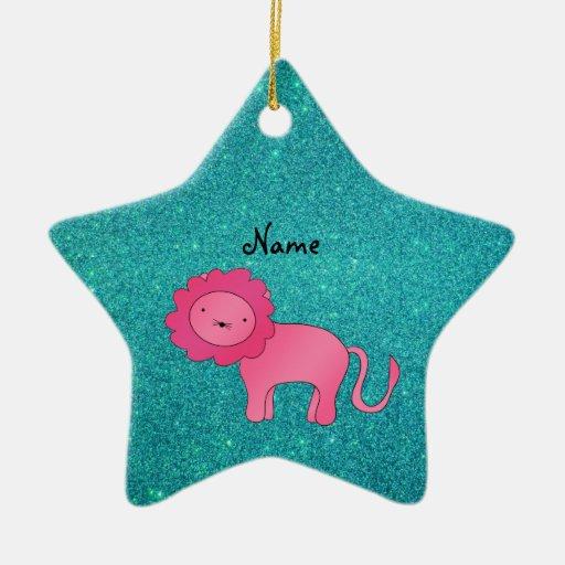 Brillo rosado conocido personalizado de la turques ornaments para arbol de navidad