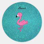 Brillo rosado conocido personalizado de la turques pegatinas redondas