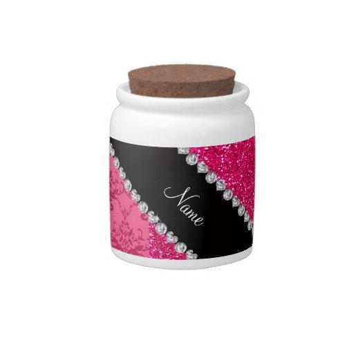 Brillo rosado conocido personalizado del rosa del  jarras para caramelos