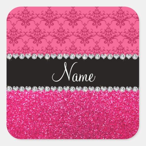 Brillo rosado conocido personalizado del rosa del pegatina cuadrada