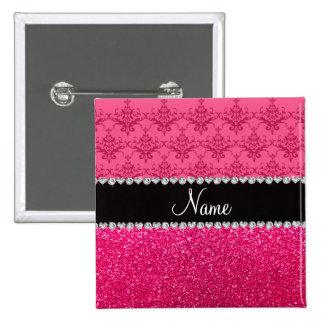 Brillo rosado conocido personalizado del rosa del  pin cuadrado
