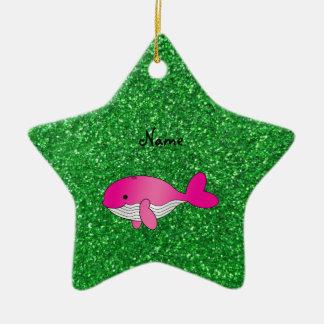 Brillo rosado conocido personalizado del verde de adorno de cerámica en forma de estrella