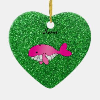 Brillo rosado conocido personalizado del verde de adorno de cerámica en forma de corazón