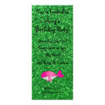 Brillo rosado conocido personalizado del verde de invitación 10,1 x 23,5 cm