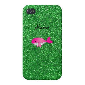 Brillo rosado conocido personalizado del verde de  iPhone 4/4S funda