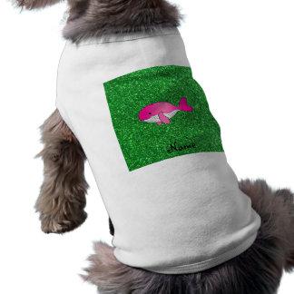 Brillo rosado conocido personalizado del verde de  playera sin mangas para perro