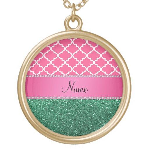 Brillo rosado conocido personalizado del verde del colgante redondo