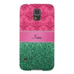 Brillo rosado conocido personalizado del verde del funda para galaxy s5