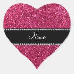 Brillo rosado conocido personalizado calcomanía corazón