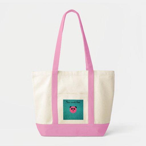 Brillo rosado de la turquesa de la cara de la pand bolsas lienzo