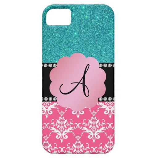 Brillo rosado de la turquesa del damasco del monog iPhone 5 Case-Mate cobertura