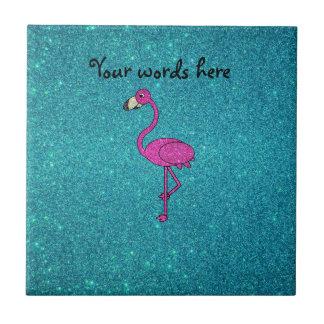 Brillo rosado de la turquesa del flamenco del bril azulejo cuadrado pequeño