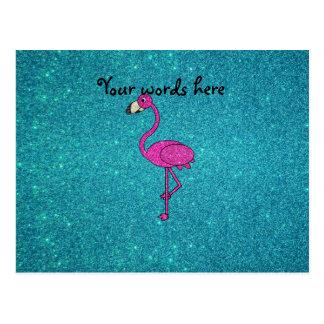 Brillo rosado de la turquesa del flamenco del postal