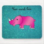 Brillo rosado de la turquesa del hipopótamo alfombrillas de ratones