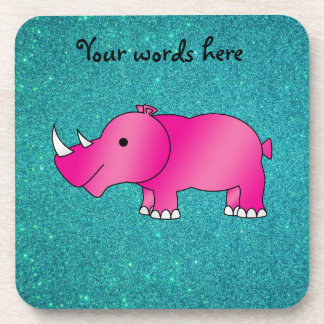 Brillo rosado de la turquesa del rinoceronte posavasos de bebida