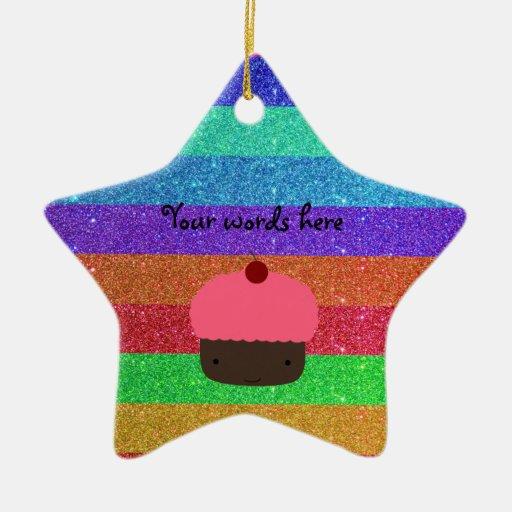 Brillo rosado del arco iris de la magdalena adorno de cerámica en forma de estrella