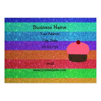 Brillo rosado del arco iris de la magdalena plantillas de tarjeta de negocio