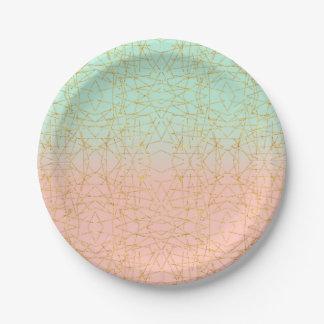 Brillo rosado del oro de Ombre de la verde menta Plato De Papel De 7 Pulgadas