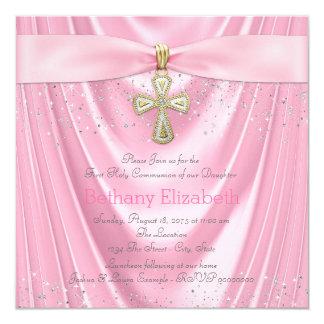 """Brillo rosado del satén comunión rosada de la cruz invitación 5.25"""" x 5.25"""""""