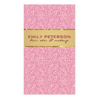Brillo rosado elegante con acentos del oro tarjetas de visita