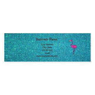 Brillo rosado femenino de la turquesa del flamenco tarjetas de visita mini