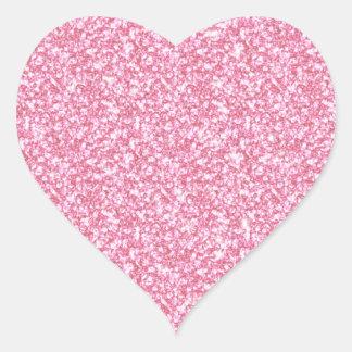 Brillo rosado femenino impreso pegatina en forma de corazón