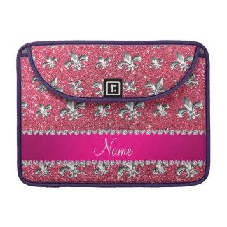 Brillo rosado fucsia de la flor de lis conocida de funda para macbooks