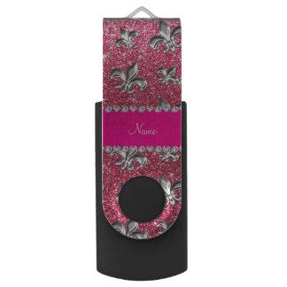 Brillo rosado fucsia de la flor de lis conocida de memoria USB 2.0 giratoria