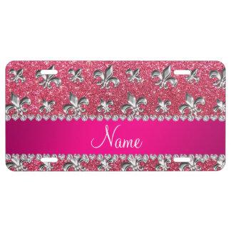 Brillo rosado fucsia de la flor de lis conocida de placa de matrícula