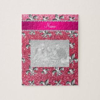Brillo rosado fucsia de la flor de lis conocida de rompecabeza