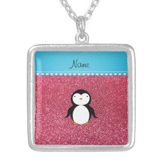 Brillo rosado fucsia personalizado del pingüino joyeria personalizada