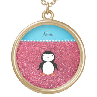 Brillo rosado fucsia personalizado del pingüino joyería