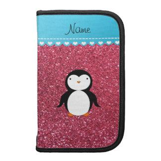 Brillo rosado fucsia personalizado del pingüino organizador