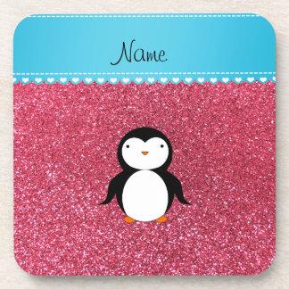 Brillo rosado fucsia personalizado del pingüino posavaso