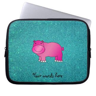 Brillo rosado lindo de la turquesa del hipopótamo funda portátil