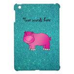 Brillo rosado lindo de la turquesa del hipopótamo iPad mini carcasas