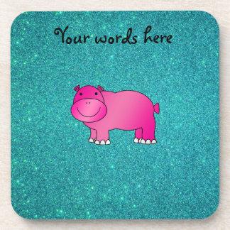 Brillo rosado lindo de la turquesa del hipopótamo posavasos de bebida