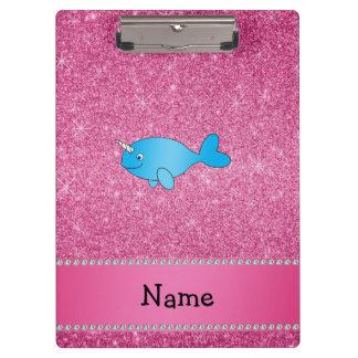 Brillo rosado narwhal azul conocido personalizado