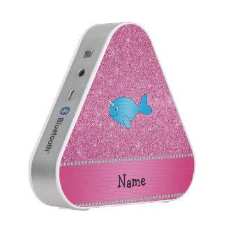 Brillo rosado narwhal azul conocido personalizado altavoz bluetooth